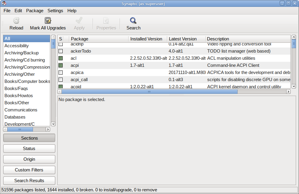 Synaptic Package Manager Main Window